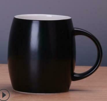 """271033 Кружка """"Бочонок"""" h=10см, l=12,5см, 480мл, керамика глян.черный"""