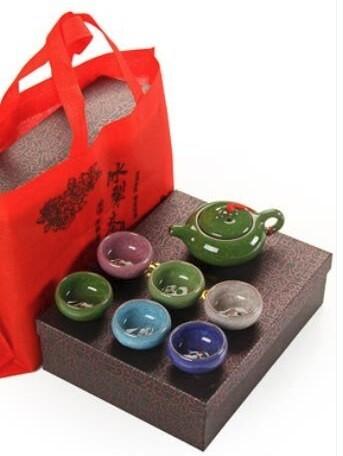 """265009 Сервиз """"Колотый лед"""", 6 пиал 50 мл +чайник 120 мл, керамика, разноцветный, в комплекте коробк"""