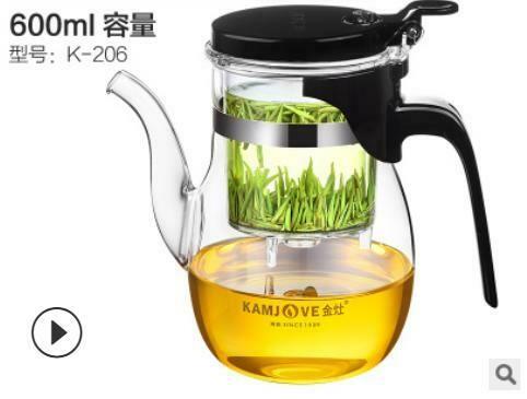 """236012 Чайник KAMJOVE """"Изипот К-206"""" с/носиком, крышка с защелкой, 600мл, стекло/пластик"""