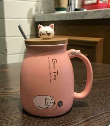 """283003 Кружка """"Котик с клубком"""" крышка+ложка, h=11см, d=7см, 450мл, керам/металл/бамбук розовый"""