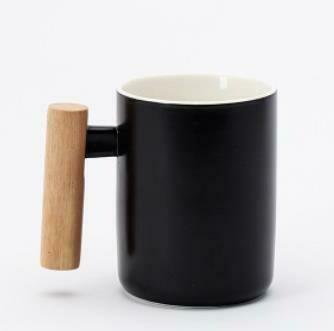 """285001.3 Кружка """"Ручка-брусок"""" h=11см, d=7,6см, 400мл, керамика/дерево черный"""
