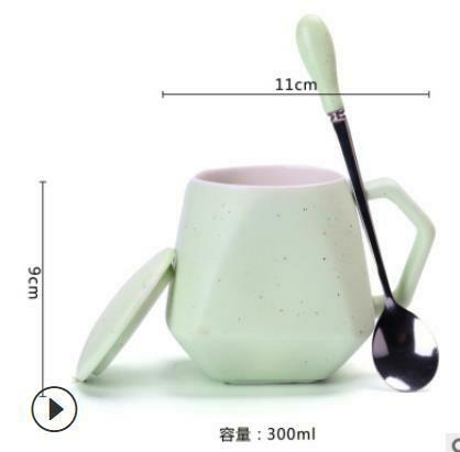 """271022 Кружка """"Небосвод"""" с ложкой и крышкой h=9см, l=11см, 300мл, керамика мат.зеленый"""