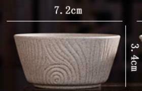 """268009.4 Пиала серия-КРЕСТЬЯНСКАЯ """"Годовые кольца"""" h=3,4см, d=7,2см, 60мл, глина песочный"""