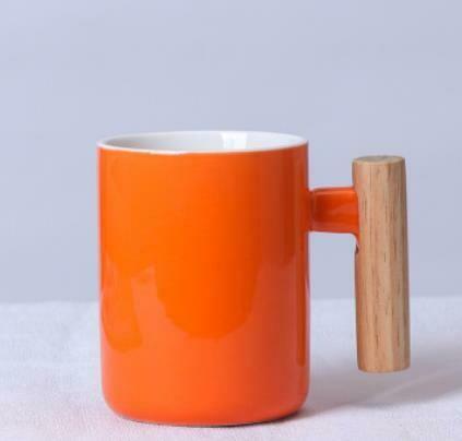 """285001 Кружка """"Ручка-брусок"""" h=11см, d=7,6см, 400мл, керамика/дерево оранжевый"""