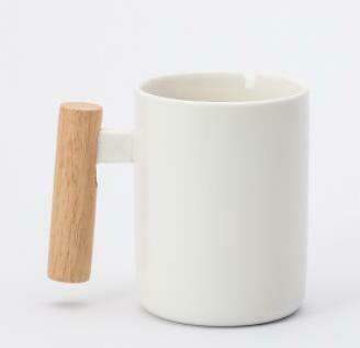 """285001.4 Кружка """"Ручка-брусок"""" h=11см, d=7,6см, 400мл, керамика/дерево белый"""