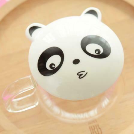 """237013c Кружка с заварочной колбой""""Панда"""", стекло, 300мл."""