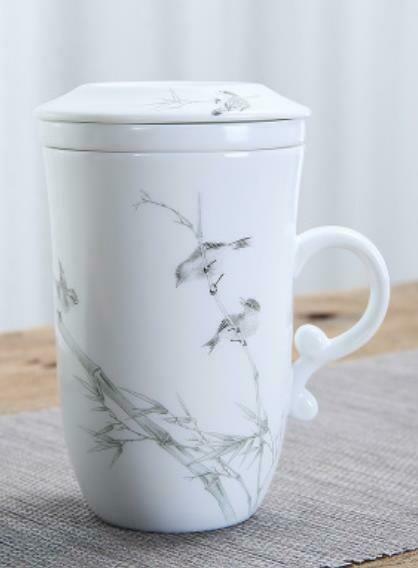 """266012 Кружка """"Птицы в зарослях бамбука"""" с заварочной колбой h=12см, d=10,5см, 250мл, керамика белый"""