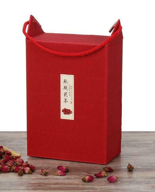 """269043 Коробка подар. """"Red"""" с ручкой, h=21см, размер=15*8см, картон гофриров. красный В РАЗОБР ВИДЕ"""
