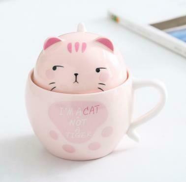 """284002.2 Кружка """"Котенок 3d откр.глаза"""" крышка+ложка, h=11,2см, l=13,2см, 300мл, керамика розовый"""