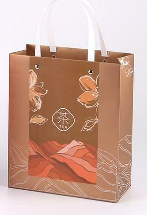 """269062.3 Пакет подар. """"TEA"""" h=25,5см, размер=21*9,5см, мел.бумага коричневый"""