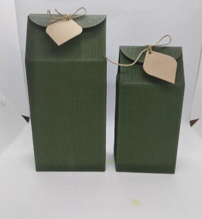 """269064.2 Коробка подар. """"Большая"""" размер=25,5*11,5*7см, картон гофриров зеленый В РАЗОБРАННОМ ВИДЕ"""