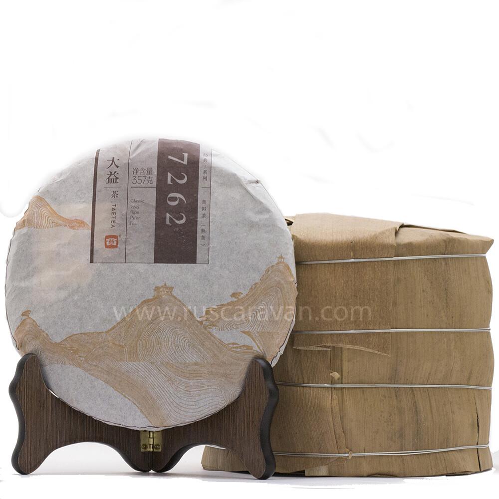 """0472к Чай прессованный черный """"Пуэр Шу """"7262""""  (ци цзы бин, 357 гр)"""