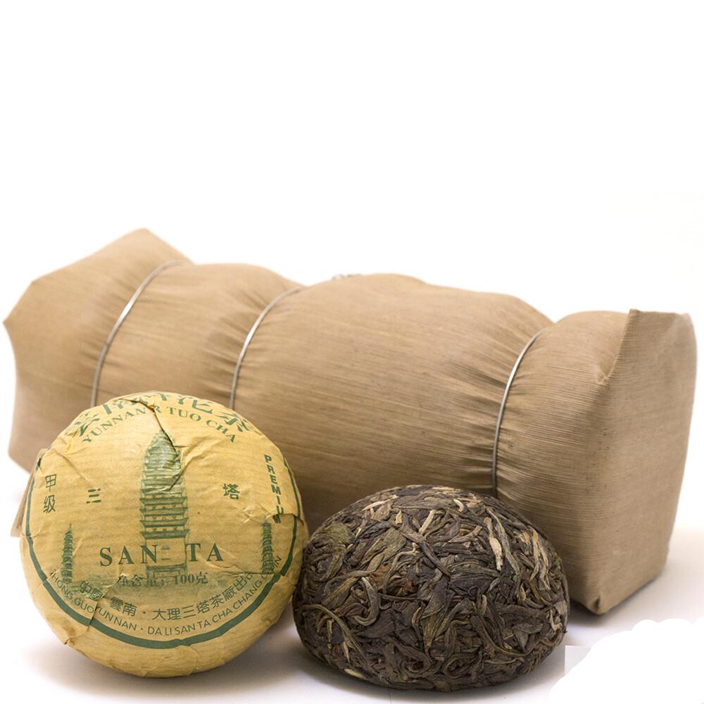 """0536к Чай прессованный зеленый Пуэр Шэн """"Саньта Премиум"""", то ча 100гр"""