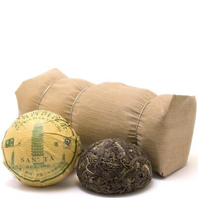 "0374к Чай прессованный зеленый Пуэр Шэн ""Саньта"", то ча 100гр"