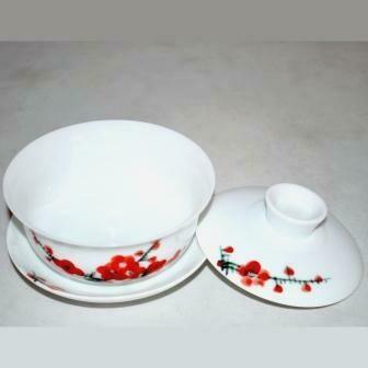 "20525 Гайвань ""Красный цветок"" (фарфор, 100 мл)"