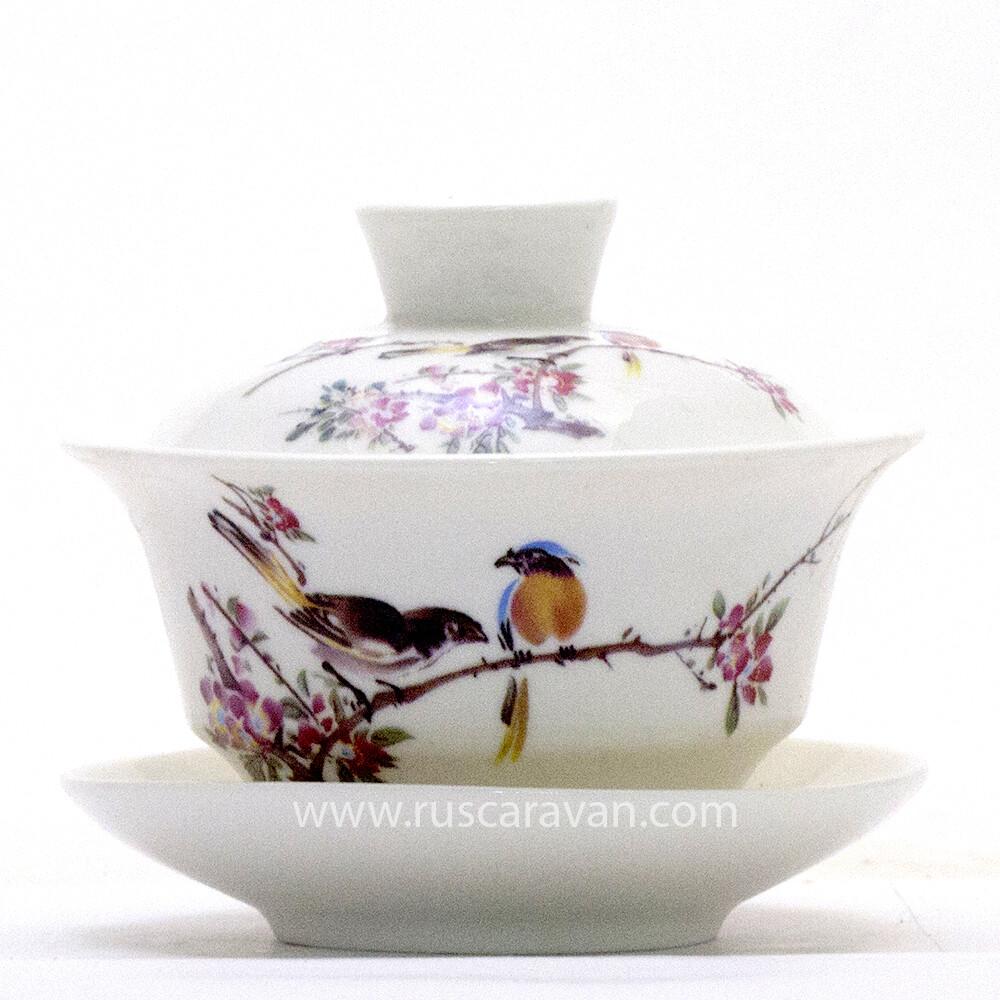 """183175 Гайвань """" Птицы в весеннем саду"""" (фарфор, 70 мл)"""