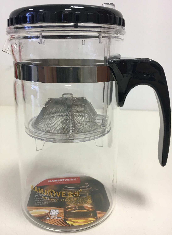 18364 Чайник изипот Kamjove 500мл, стекло/пластик. Без носика, крышка съемная. Высота 15, диаметр 8