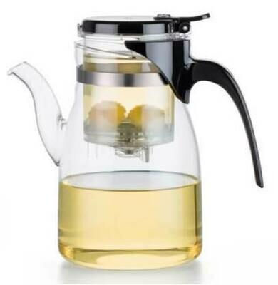 213001 Чайник изипот SAMADoyo 900мл стекло/пластик, с носиком, крышка на защелке. Высота17, дм 9
