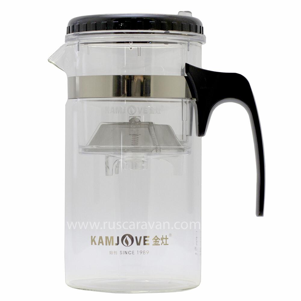 "18371 Чайник Kamjove ""Изипот"" б/носика, съемная крышка, h=19см, d=10см, 1000мл, стекло/пластик"