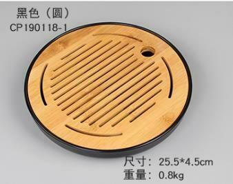 """243050 Чабань """"Круглая"""" h=4,5см, d=25,5см, бамбук/пластик натуральный/черный"""