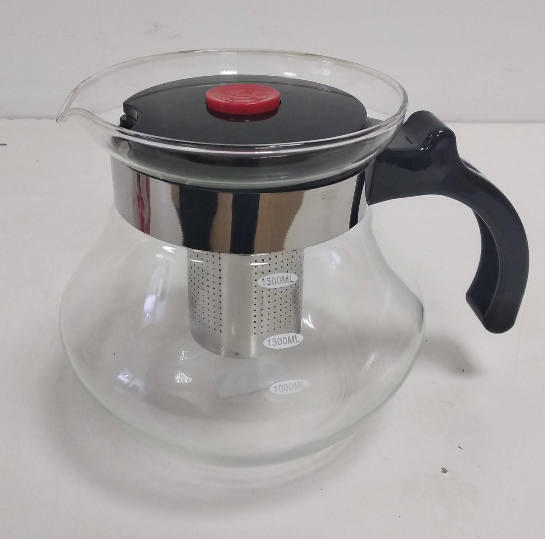 262005 Чайник с металл ситом, боросиликатное стекло 3 мм,  1,5л; h=16; d=12