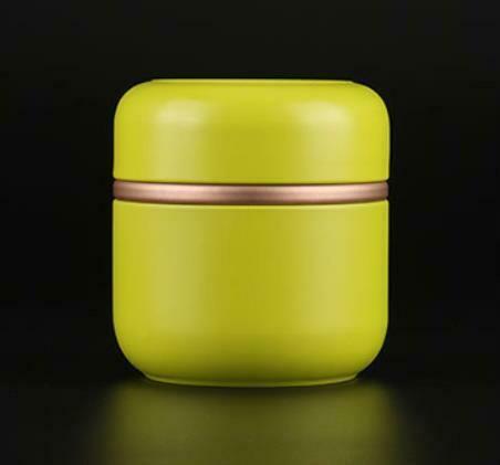 """269050.2 Банка """"С ободком"""" с двойной крышкой, h=9,2см, d=8,5см, жесть желто-зеленый"""
