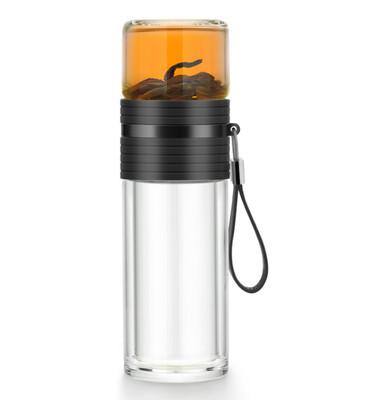 """213042 Бутылка для заваривания SAMADoyo """"C-001A"""" ниж.колба-238мл, верх. колба-170мл, черный/стекло"""