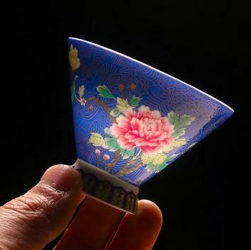 """278074.1 Пиала """"Конус Цветок"""" h=5см, d=6,7см, 65 мл, фарфор  синий"""