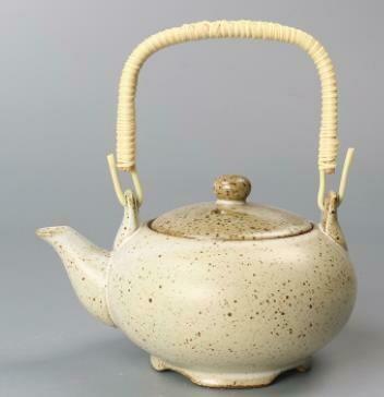"""278117.3 Чайник """"Каменная печь"""" 350мл, H=9см, D=14см, керамика белый песок"""