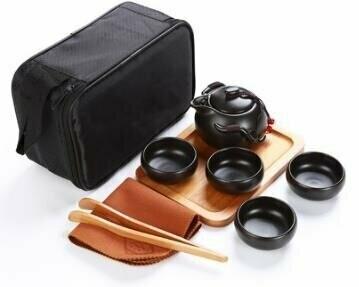 242070 Сервиз Дорожный, черный фарфор. Чайник 100мл + 4 пиалы 30мл + чайная доска + щипцы + сумка