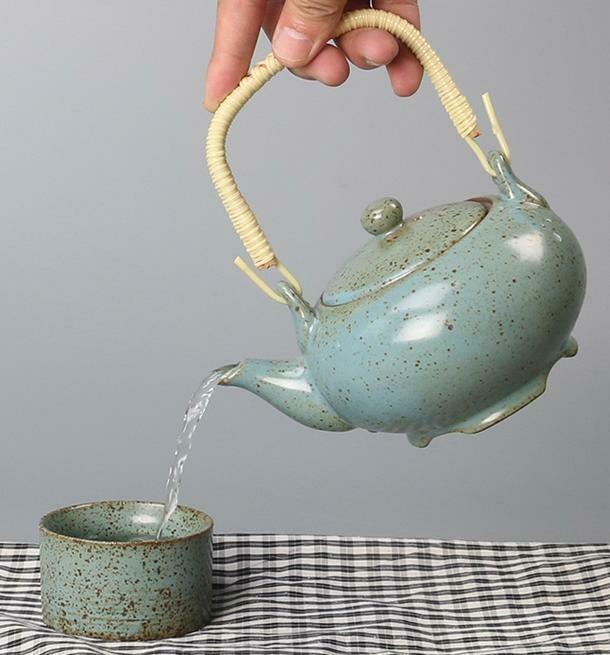 """278117.1 Чайник """"Каменная печь"""" 350мл, H=9см, D=14см, керамика бирюзовый"""