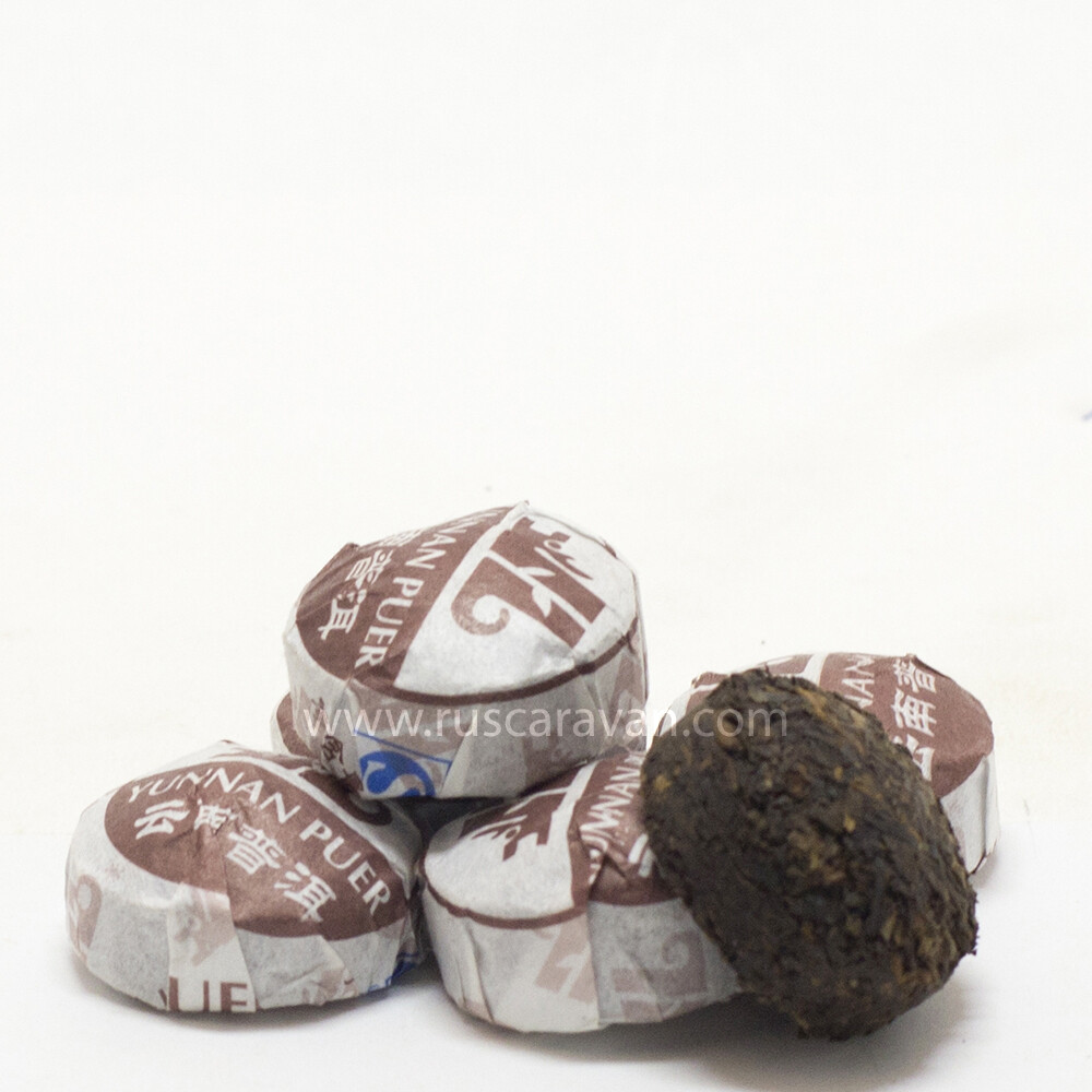 """0211к Чай прессованный черный """"Пуэр Шу №7 Юньнань"""" классический (сяо то)"""