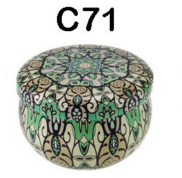 294071 Банка Орнамент C71  h=5см, d=7,7см, 150мл, жесть зеленый