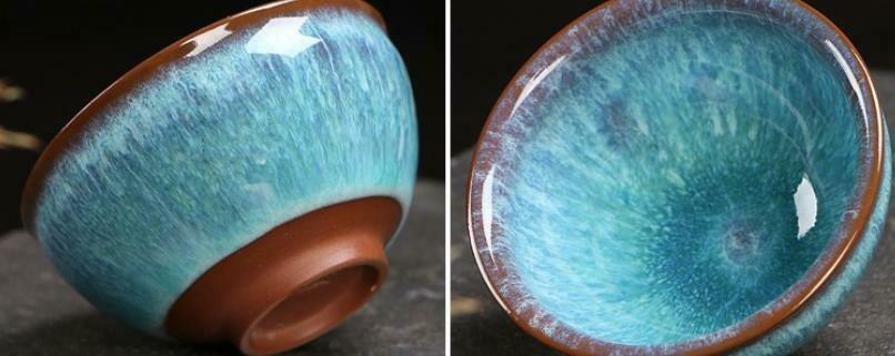 "278097 Пиала ""ЦзюньЯо №17"" h=4,7см, d=8,5см, керамика  коричневый/голубой"
