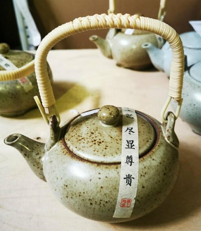 """278117.4 Чайник """"Каменная печь"""" 350мл, H=9см, D=14см, керамика мокрый песок"""