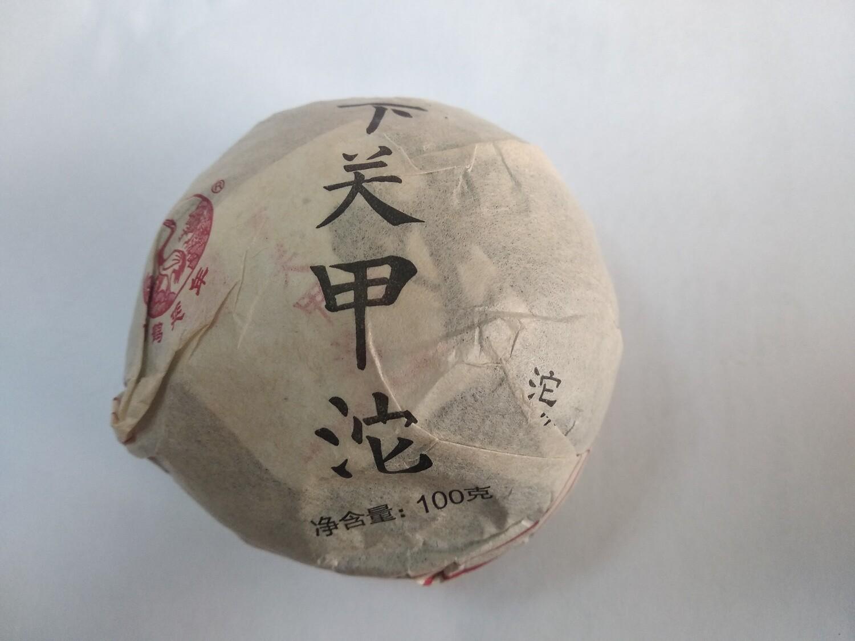 """0495к Чай прессованный зеленый Пуэр Шэн """"Сягуань, Цзяцзи"""", то ча 100 гр"""