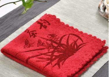 243004 Полотенце 23*23 см ткань красный