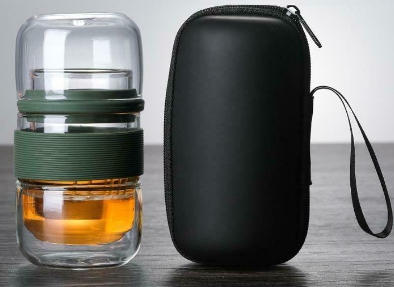 """298026 Сервиз """"Дорожный"""" завар.стакан 180мл с ситом + 2 пиалы 120мл, в чехле, стекло/зеленый"""