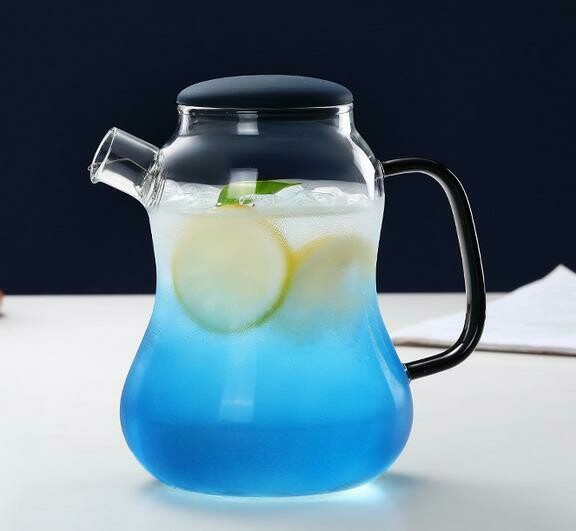 "298022.2 Чайник  ""Бриз"" силик.крышка 1400мл, стекло/синий"