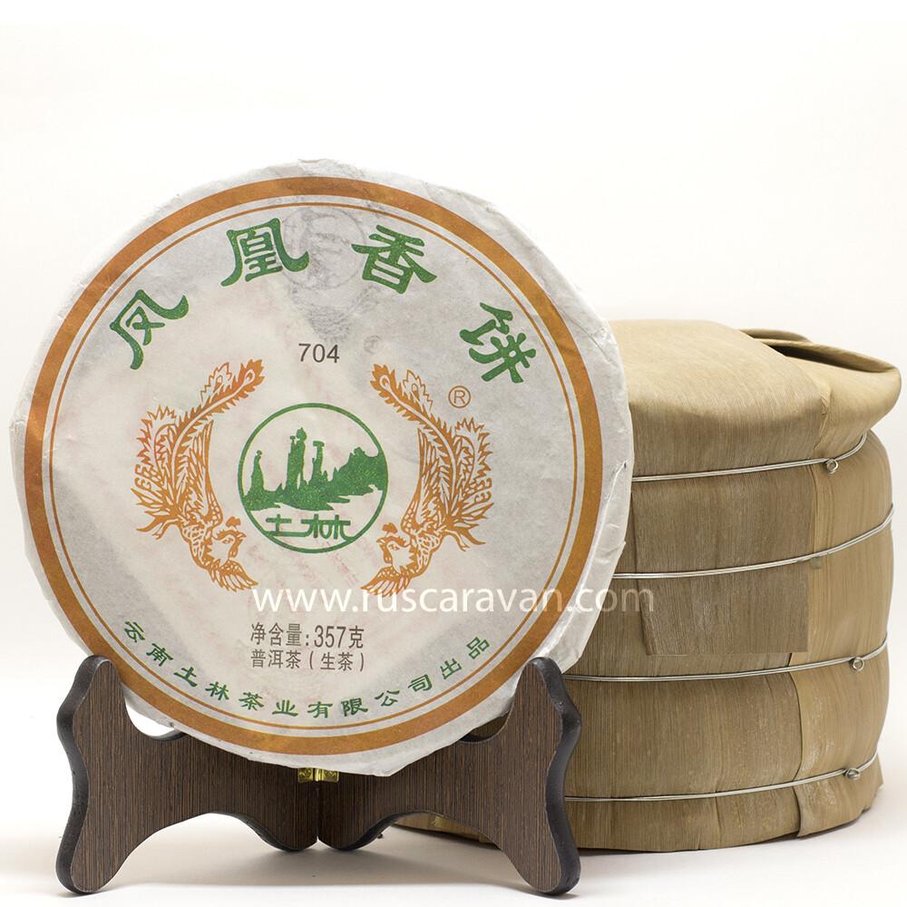"0950к Чай прессованный зеленый Пуэр Шэн ""Тулинь, 704"", ци цзы бин 357гр"