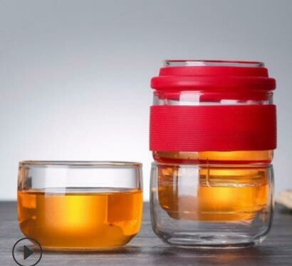 """298028 Сервиз """"Дорожный"""" завар.стакан 180мл с ситом + 2 пиалы 120мл, в чехле, стекло/красный"""