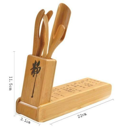 300001 Набор чайных инструментов  складной, 4 предмета + подставка,  бамбук