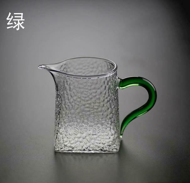 """289007 Сливник (Чахай) """"Мятое стекло"""" с зеленой ручкой 300 мл  h=9.5, d=8, стекло"""