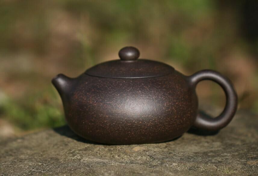 """250046 Чайник """"Каменный"""" 200мл, 7*12,5, глина. Цвет - черный"""