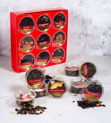 59256 Набор чая с добавками в коробке,180 грамм, (18шт по 10 грамм), с лого РК