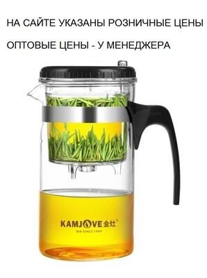 """236027 Чайник KAMJOVE """"Изипот"""" TP-200 с б/носика 1000 мл, стекло/пластик"""