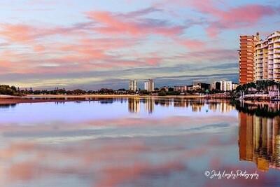 Sunset Skyline Reflection
