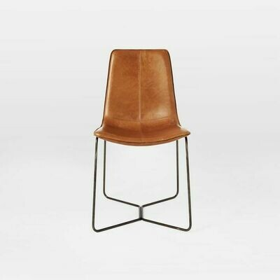 TAN LEATHER WIRE CHAIR