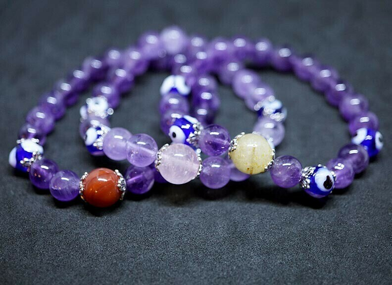 Evil Eye Protection Amethyst Bracelet