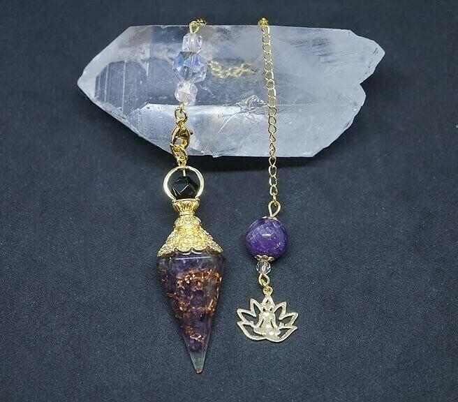 Orgone Lotus Pendulum in Amethyst